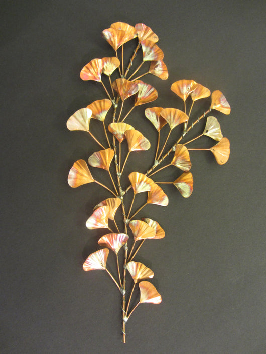 Cascading Copper Ginkgo Leaves Wall Sculpture