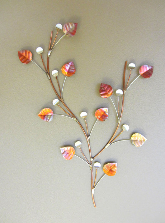 Copper Leaves and Silver Berries Wall Decoration