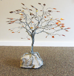 Deeply Rooted Fall Tree Metal Sculpture