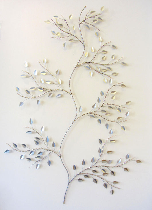 Serpentine Silver Branch Wall Sculpture