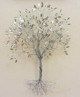 Twisted Silver Tree with Silver Leaves and Berries