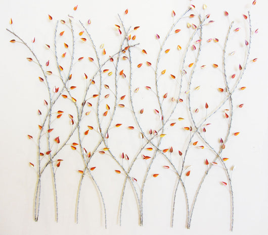 VInes Intertwined Copper Leaves Metal Wall Sculpture