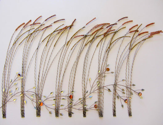 Wire Wrapped Copper Grass with Leaves Wall Sculpture