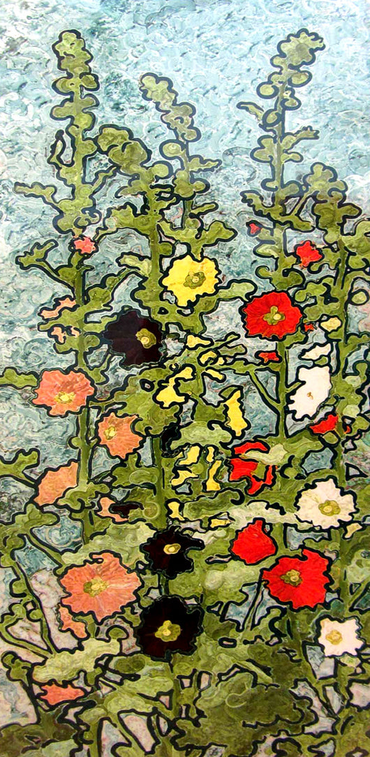 Hollyhocks On Blue Giclee
