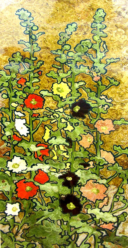 Hollyhocks On Gold Giclee