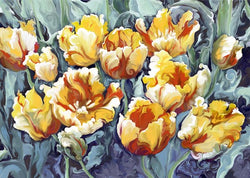 One Dozen Vintage Tulips Giclee Mounted
