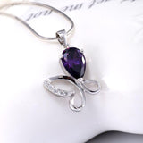 Sterling Silver and Amethyst Butterfly Necklace