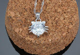 Sterling Silver Crystal Cat Necklace