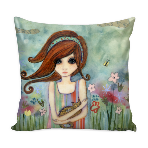 Girl With Cat Pillow Cover