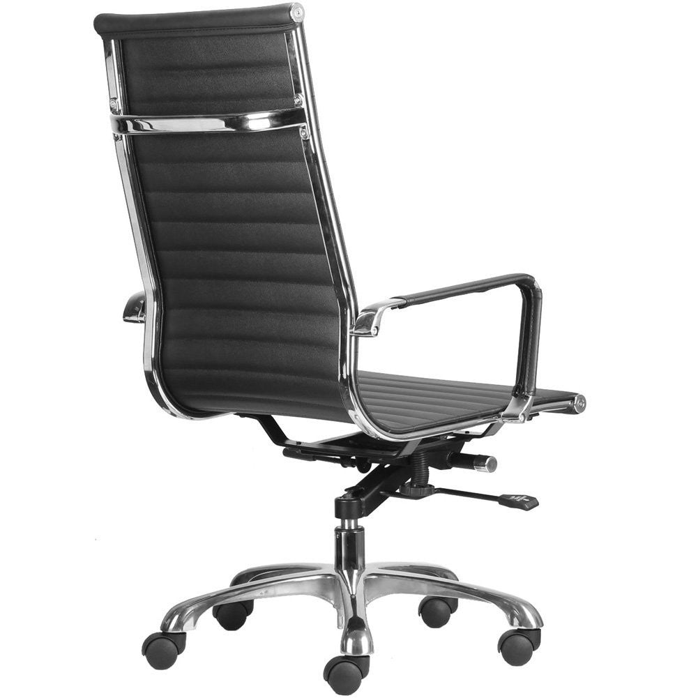 High Back Ribbed Upholstered Leather Executive Swivel Office Chair (Black)