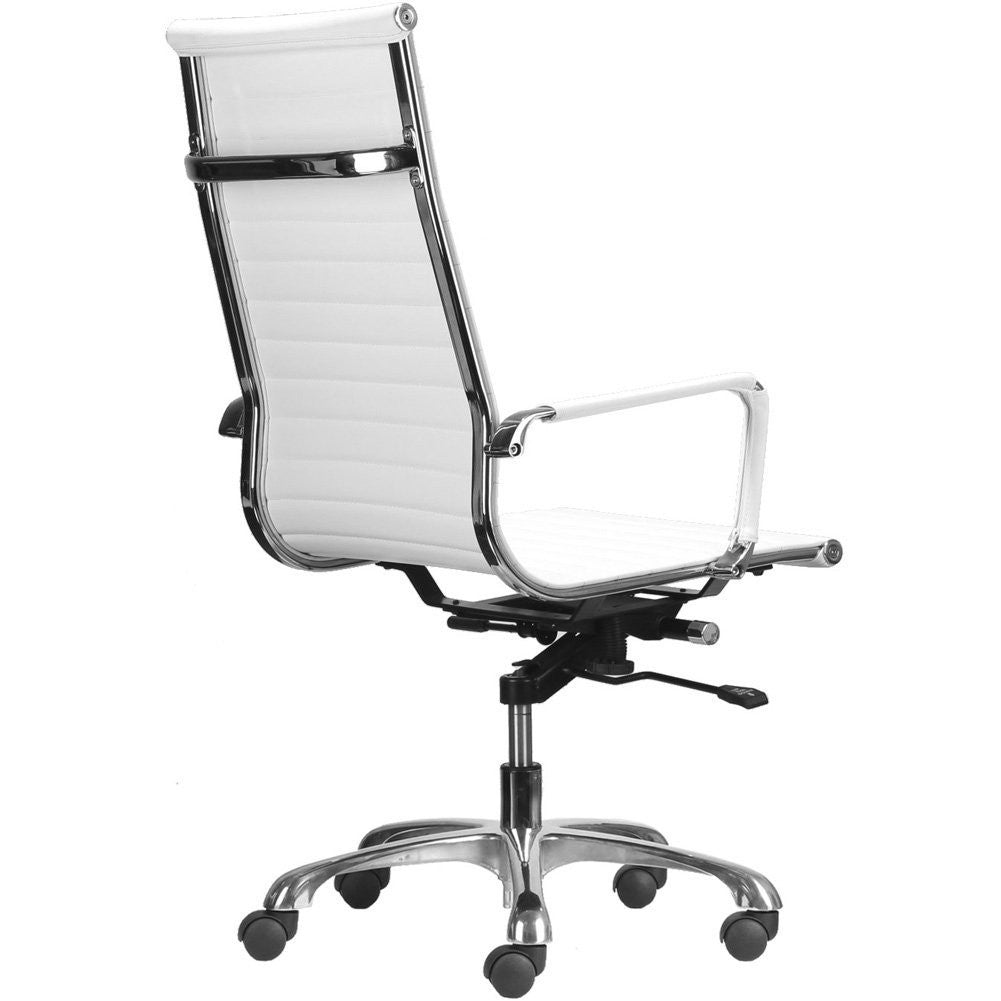 High Back Ribbed Upholstered Leather Executive Swivel Office Chair (White)