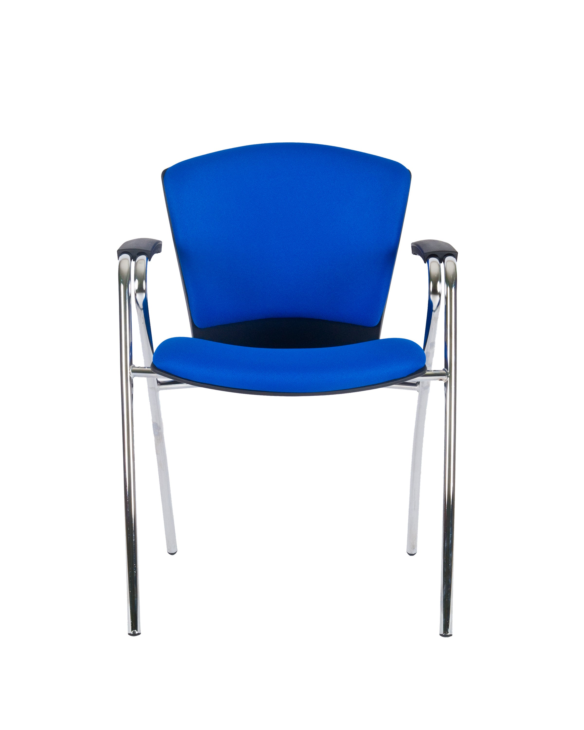 Modern Fabric Upholstered Stacking Guest Chair with Arms by Charm Furniture (Blue)
