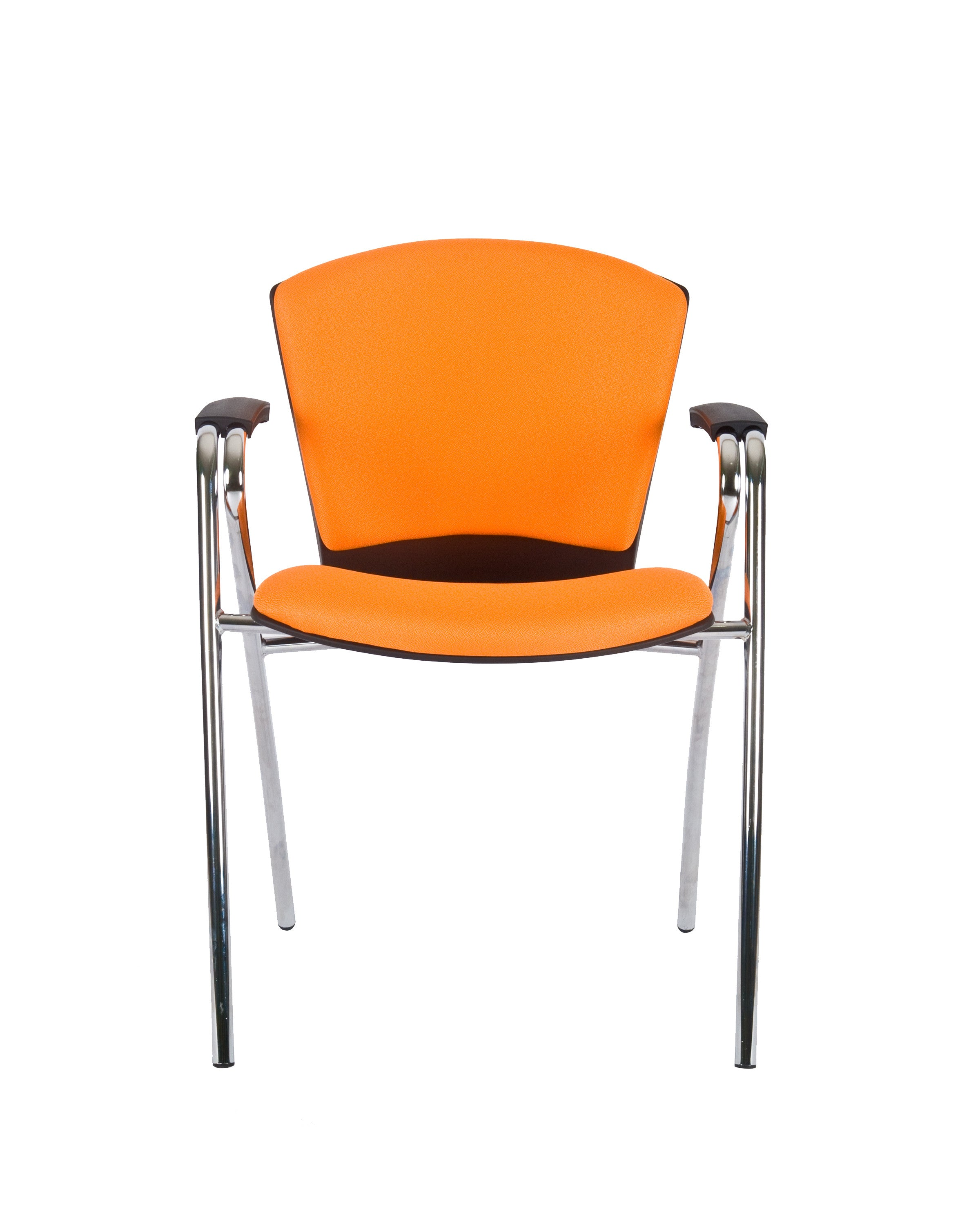 Modern Fabric Upholstered Stacking Guest Chair with Arms by Charm Furniture (Orange)