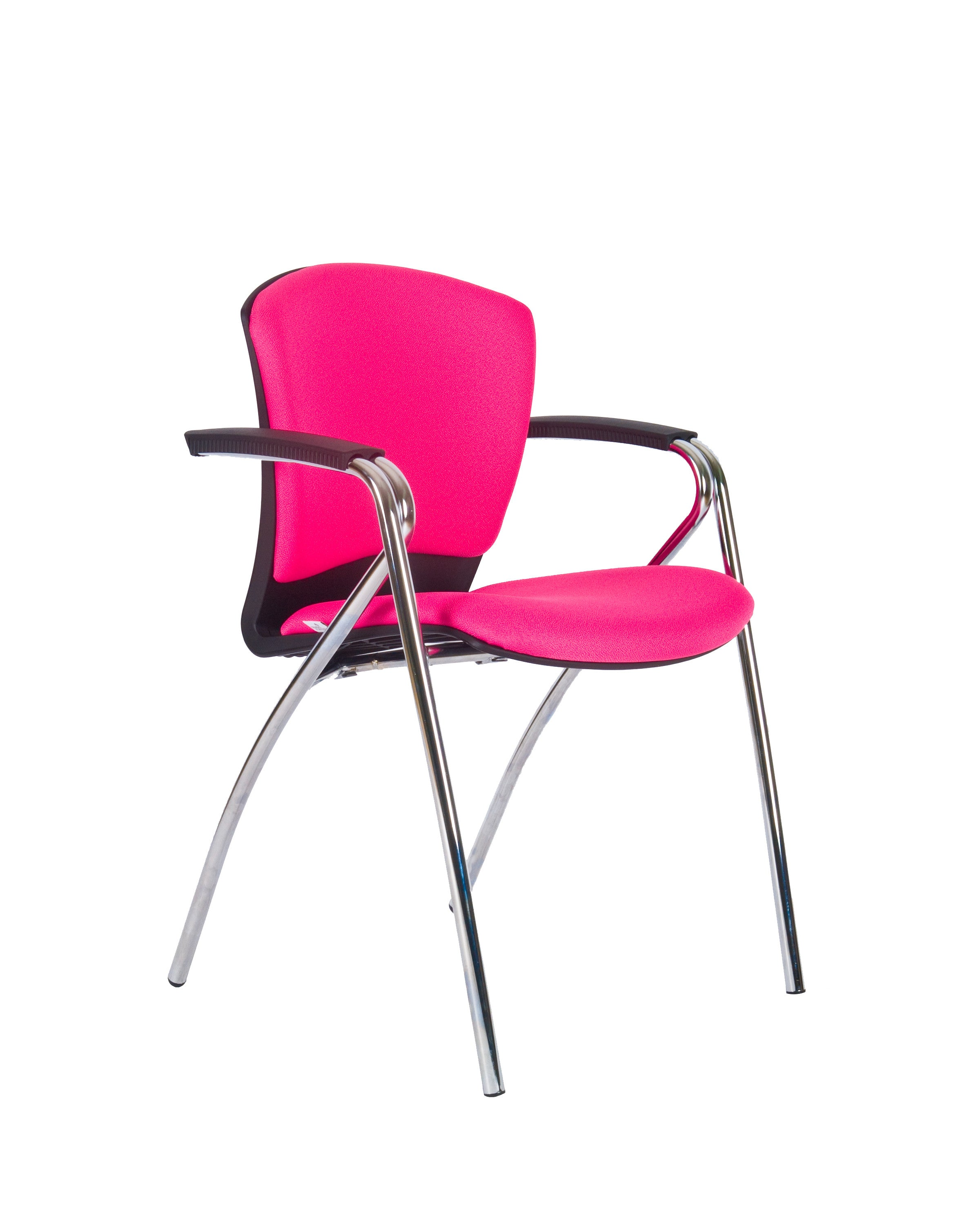 Modern Fabric Upholstered Stacking Guest Chair with Arms by Charm Furniture (Pink)