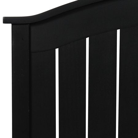 Fashion Bed Group Finley Wood Headboard Panel with Curved Top Rail and Slatted Grill Design, Black Finish, Twin