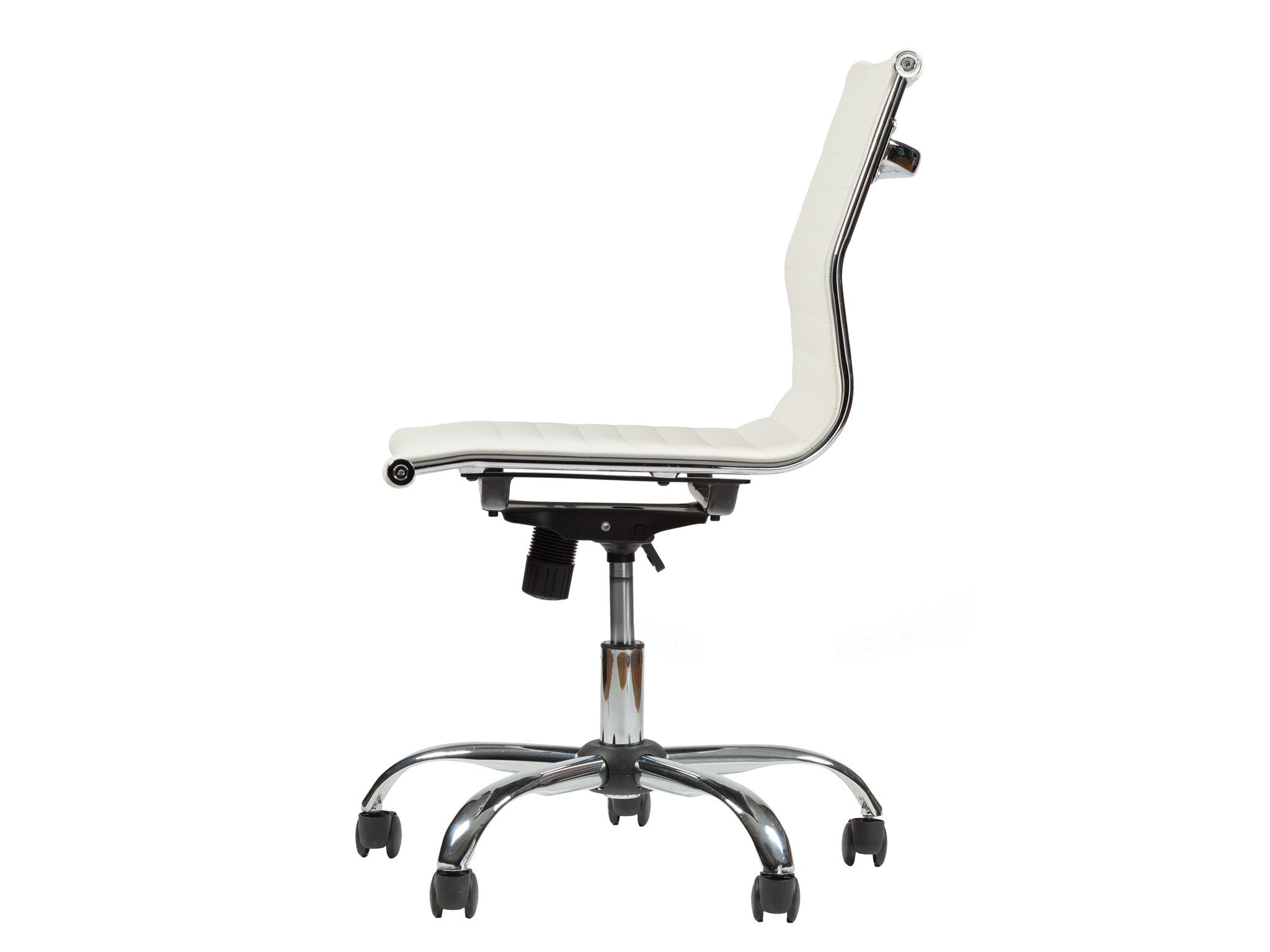 Armless Mid Back Ribbed Upholstered Leather Swivel Office Desk Chair (White)