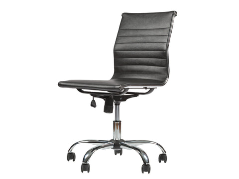 Mid Back Ribbed Upholstered Leather Swivel Office Desk Chair (Black)