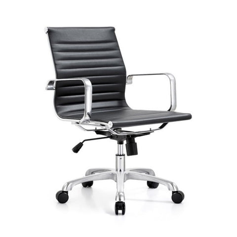 Armless Mid Back Ribbed Upholstered Leather Swivel Office Desk Chair (Black)