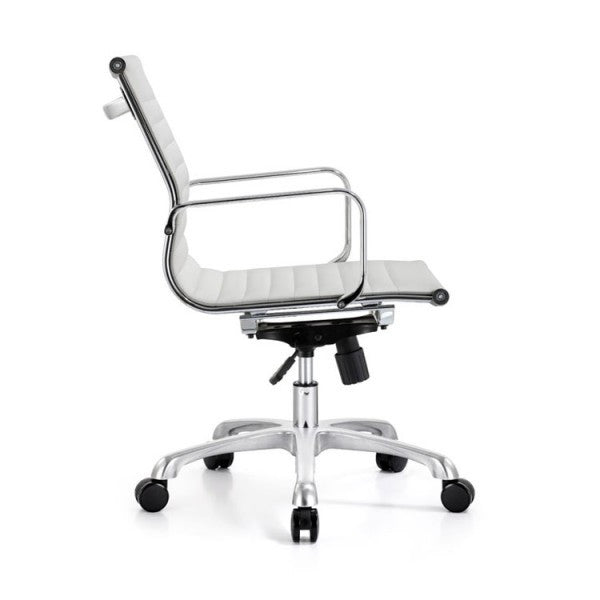 Mid Back Ribbed Upholstered Leather Swivel Office Desk Chair (White)