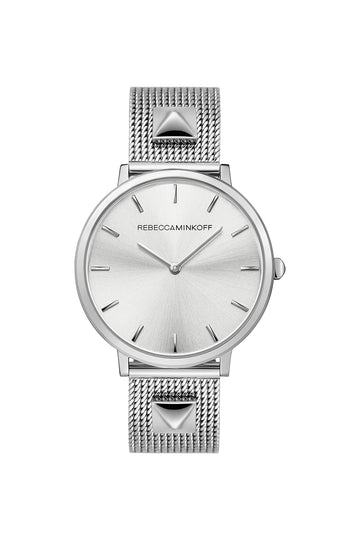Major Silver Tone Stud Mesh Bracelet Watch, 35MM