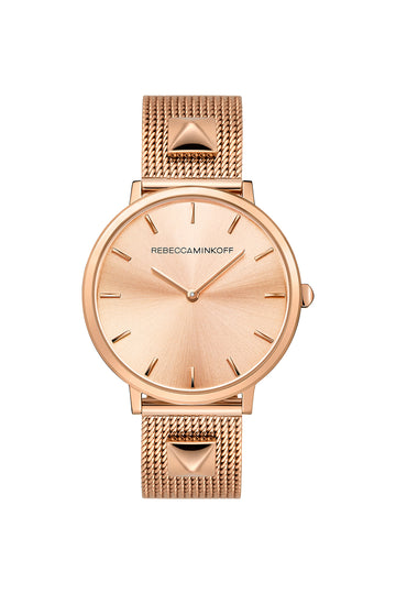 Major Rose Tone Stud Mesh Bracelet Watch, 35MM