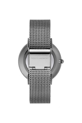 Major Grey Tone Stud Mesh Bracelet Watch, 35MM