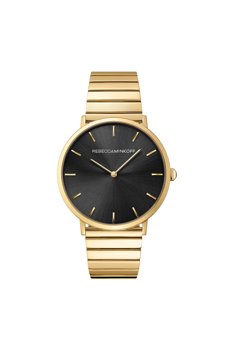 Rebecca Minkoff Women's Black & Gold Designer Watch | Major 40MM | Rebecca Minkoff