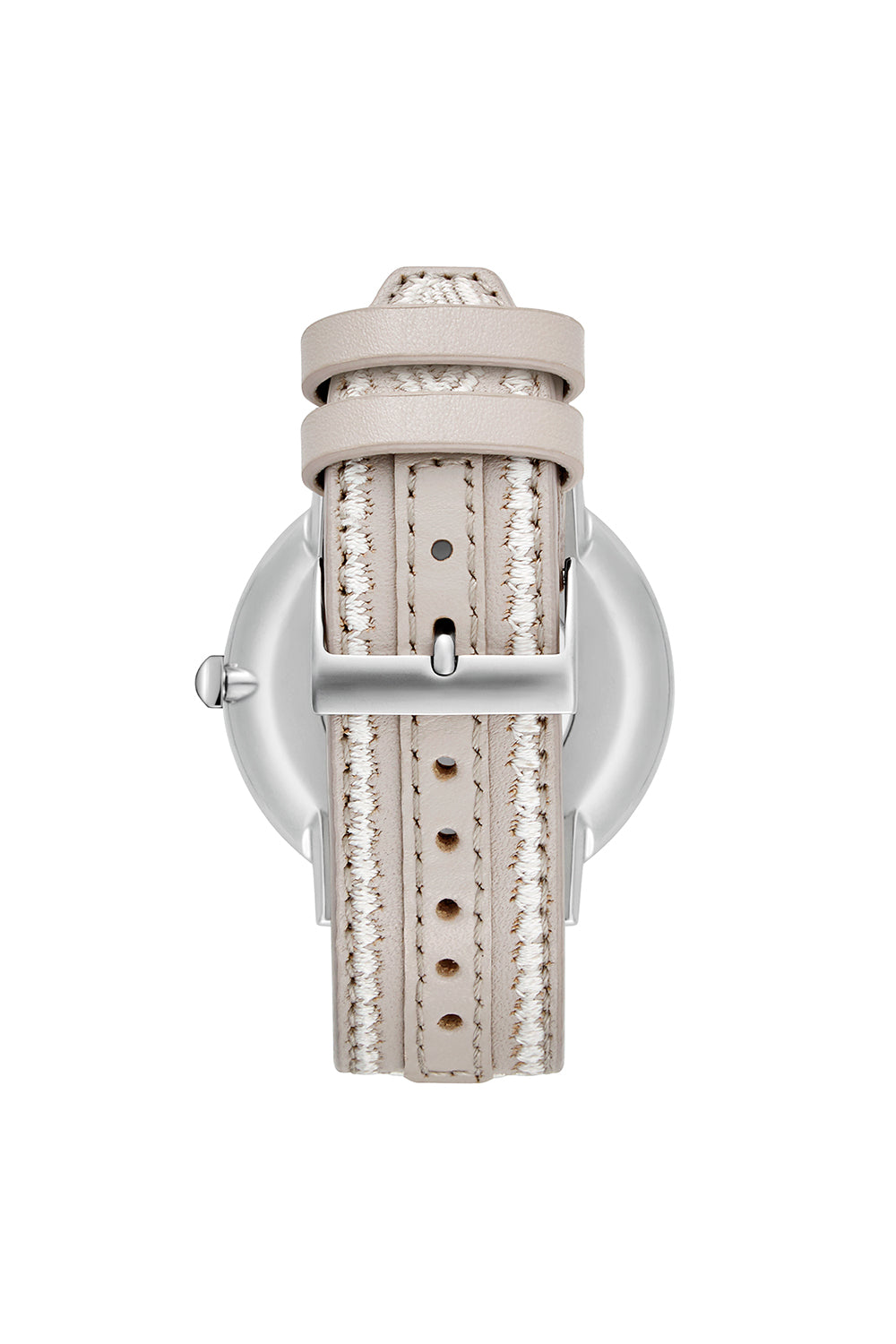 Major Silver Tone Stitched Leather Watch, 40MM