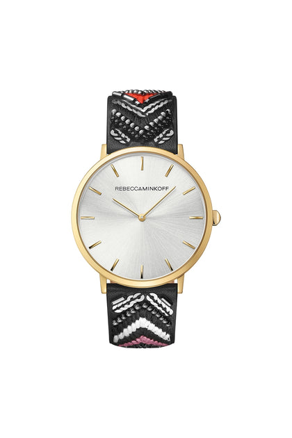 Major Gold Tone Wonder Leather Watch, 40MM