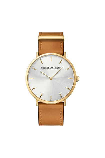 Major Gold Tone Leather Watch, 40MM