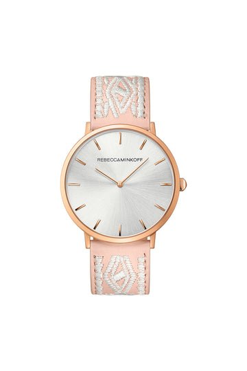 Major Rose Gold Tone Stitched Leather Watch, 40MM