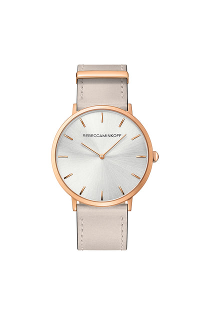 Major Rose Gold Tone Leather Watch, 40MM