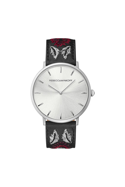 Major Silver Tone Embroidered Leather Watch, 40MM