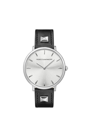 2200024 major 2h 35mm ss case with black daiquiri 08063 studded leather strap and silver white sunray dial a large