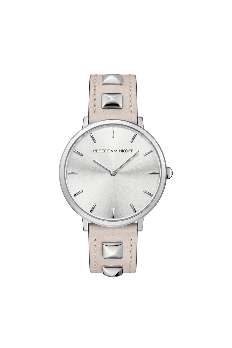 Rebecca Minkoff Major Silver Tone Pyramid Studded Leather Watch, 35MM
