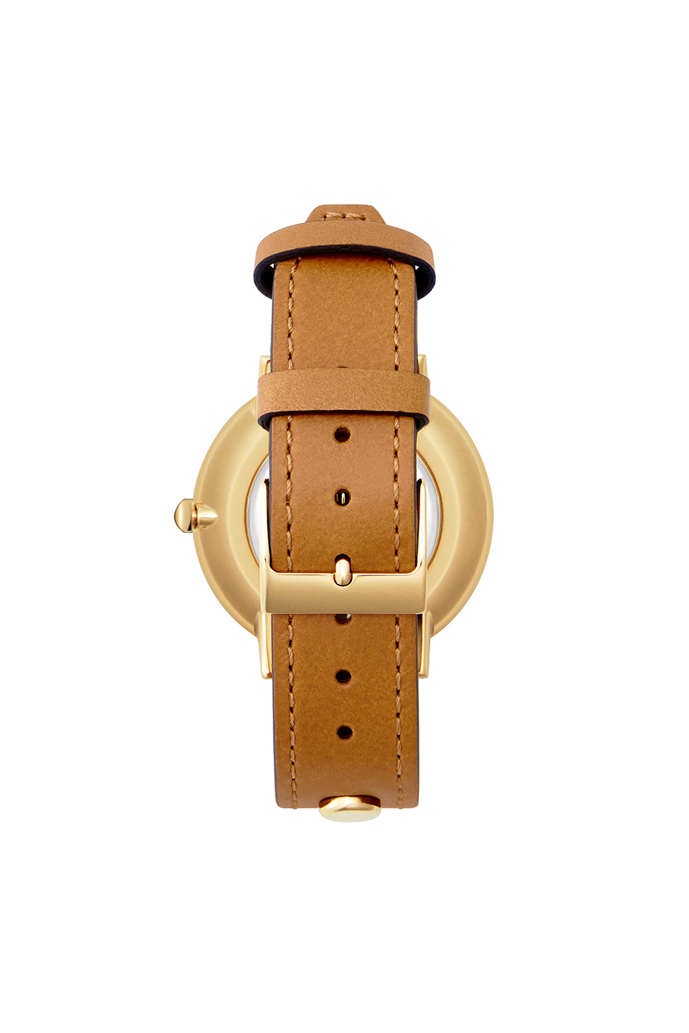 Major Gold Tone Biker Studded Leather Watch, 35MM