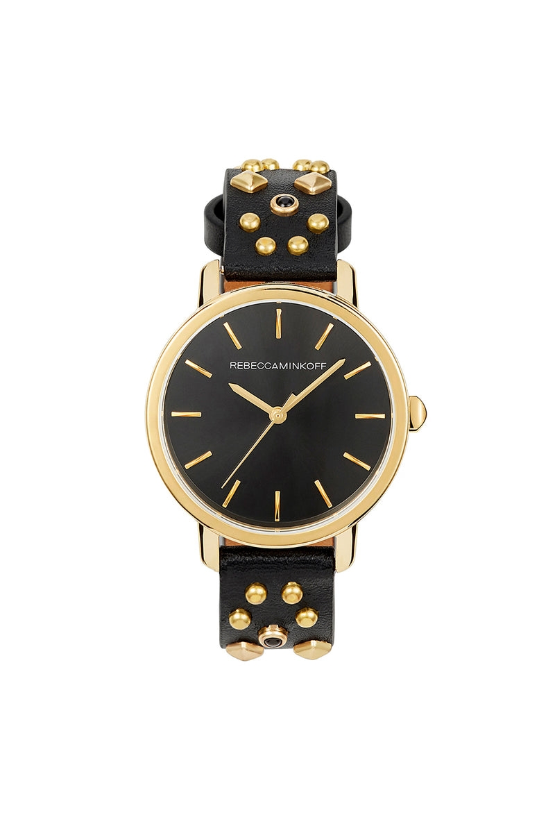 Rebecca Minkoff BFFL Gold Tone Multi Studded Leather Watch, 36MM