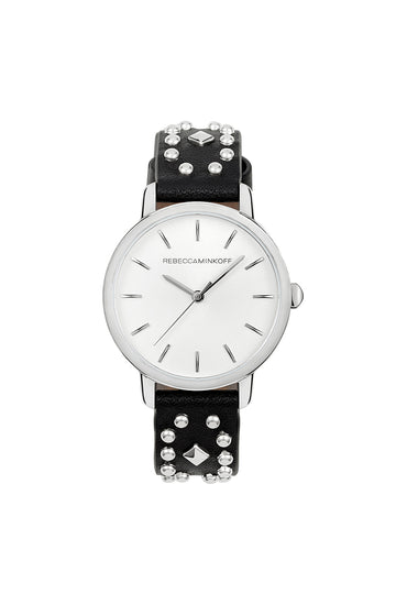 BFFL Silver Tone Multi Studded Leather Watch, 36MM