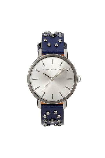 BFFL Gunmetal Tone Multi Studded Leather Watch, 36MM