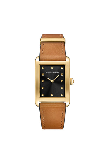 Moment Gold Tone Leather Watch, 26.5MM X 38.5MM