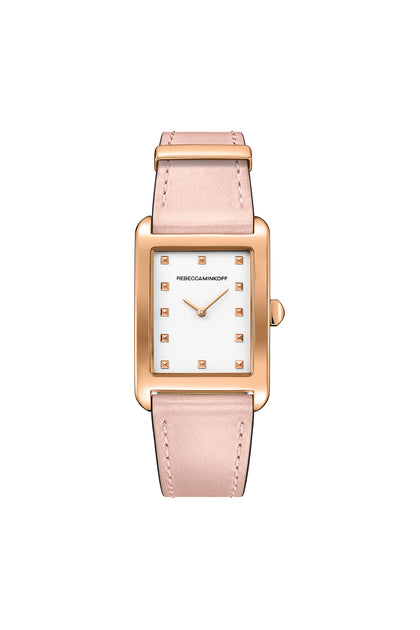 Moment Rose Gold Tone Leather Watch, 26.5MM X 38.5MM