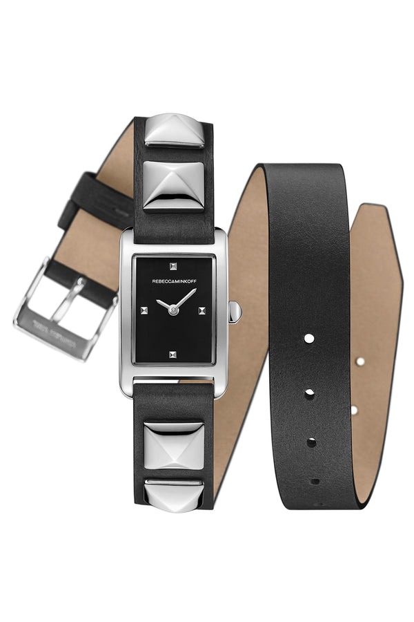 Moment Silver Tone Studded Leather Wrap Watch, 19 Mm X 30 Mm by Rebecca Minkoff