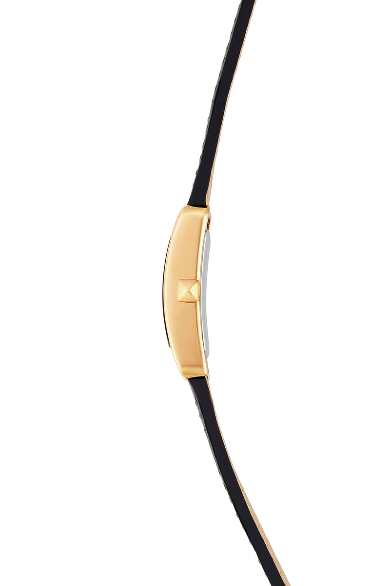 Moment Gold Tone Black Leather Strap Watch 19MM X 30MM