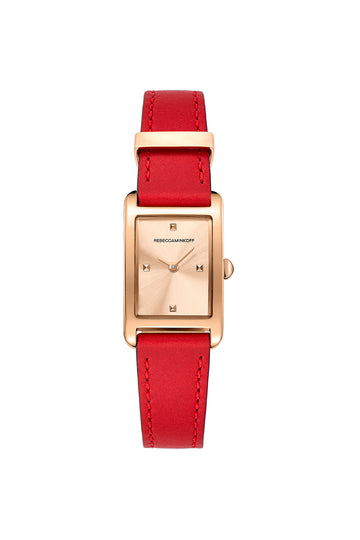 Moment Rose Tone Leather Strap Watch 19MM X 30MM