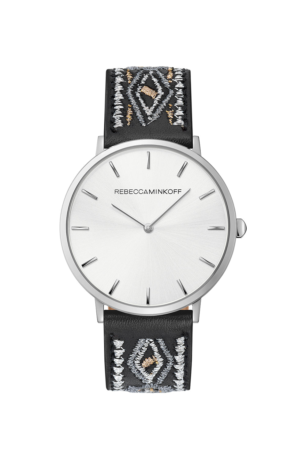 Rebecca-Minkoff Major Silver Tone Stitched Black Leather Watch, 40MM