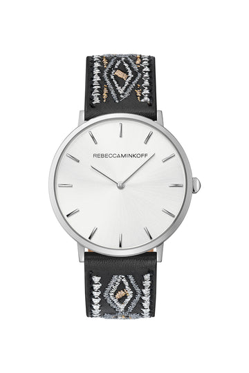 Major Silver Tone Stitched Black Leather Watch, 40MM