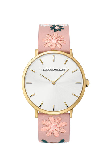 Major Gold Tone Stitched Pink Leather Watch, 40MM