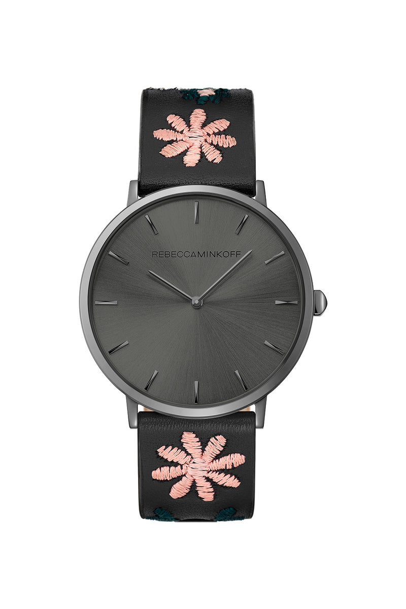 Major Grey Tone Stitched Black Leather Watch, 40MM