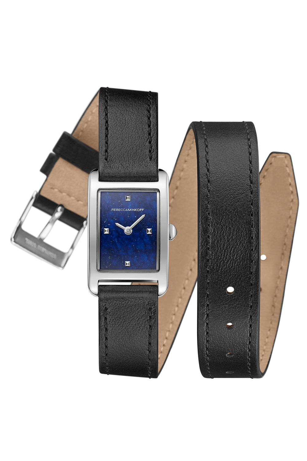 Rebecca-Minkoff Moment Silver Tone Black Leather Strap Watch, 19MMx30MM