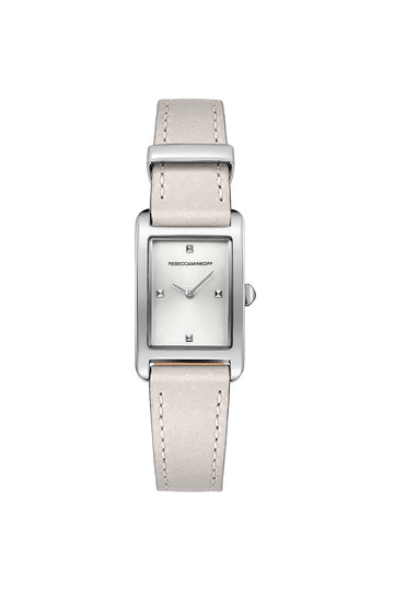 Moment Silver Tone Putty Leather Strap Watch 19MM X 30MM